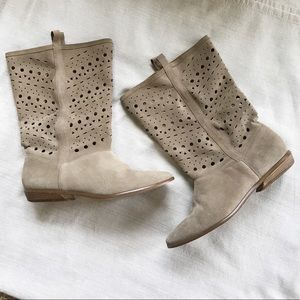 Decree Beige Suede Leather Flat Cutout Boots